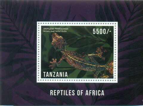 Reptiles of Africa - Satanic Leaf-tailed Gecko - Souvenir - Philately Tanzania stamps