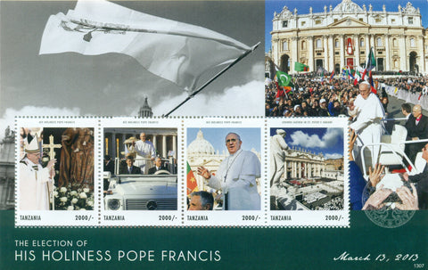 The Election of His Holiness Pope Francis - Sheetlet - Philately Tanzania stamps