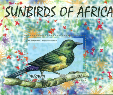 Sunbirds of Africa - Nile Valley Sunbird - Souvenir - Philately Tanzania stamps