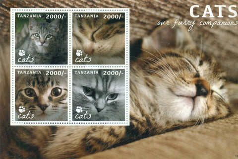 Cats - Sheetlet - Philately Tanzania stamps