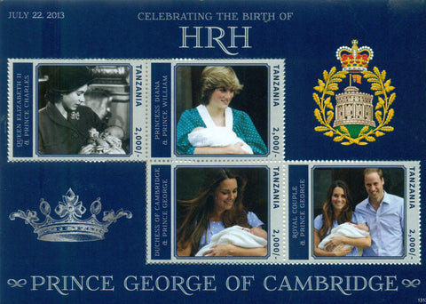 HRH Prince George of Cambridge - Sheetlet - Philately Tanzania stamps
