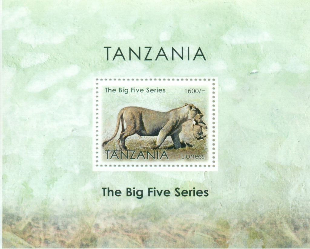 The Big Five Series - Lioness - Souvenir - Philately Tanzania stamps