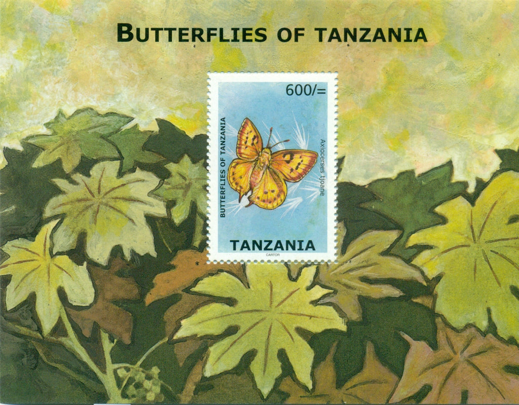 Butterflies of Tanzania - Axiocerses tjoane - Souvenir - Philately Tanzania stamps