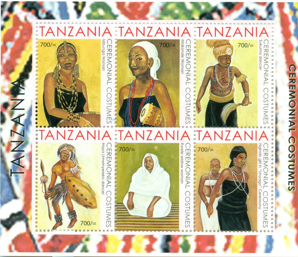 Ceremonial Costumes of Tanzania - Sheetlet - Philately Tanzania stamps