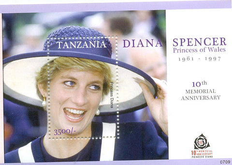 Anniversaries and Events 2007 - 10th Anniversary Diana Spencer Princess of Wales 1961-1997 - Souvenir - Philately Tanzania stamps