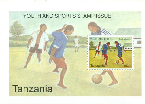 Youth and Sports - Football game - Souvenir - Philately Tanzania stamps