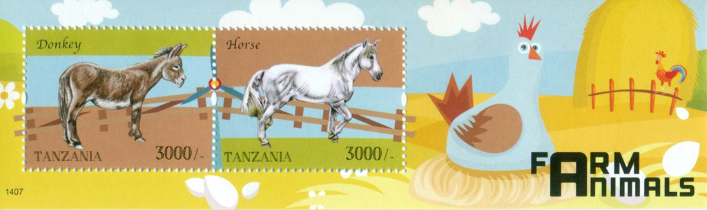 Farm Animals - Souvenir - Philately Tanzania stamps