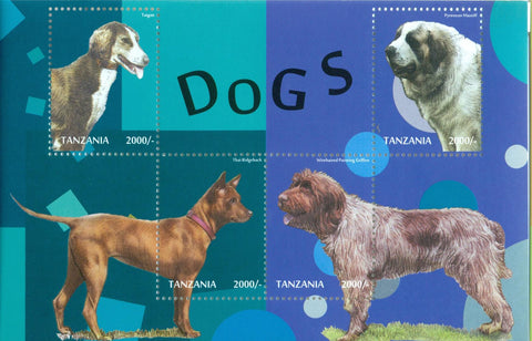 Dogs - Sheetlet - Philately Tanzania stamps