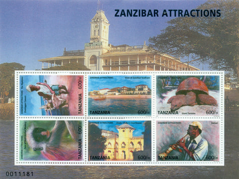 Zanzibar Attractions - Souvenir - Philately Tanzania stamps
