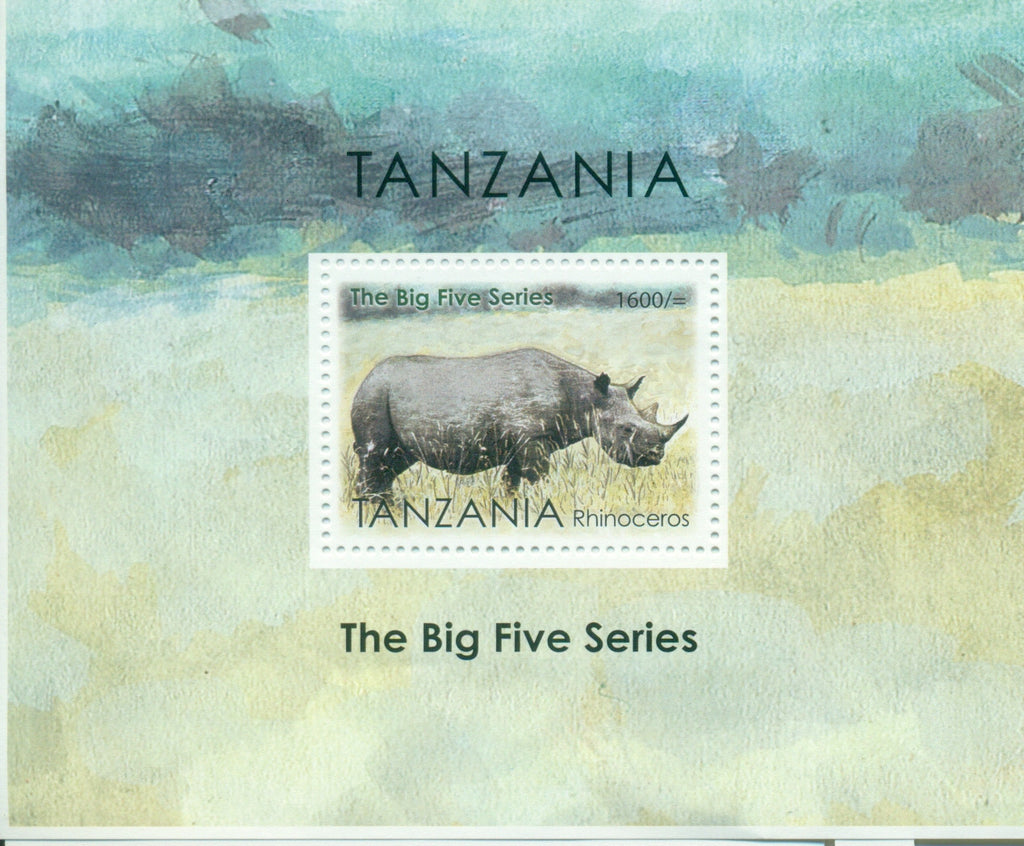 The Big Five Series - Rhinoceros - Souvenir - Philately Tanzania stamps