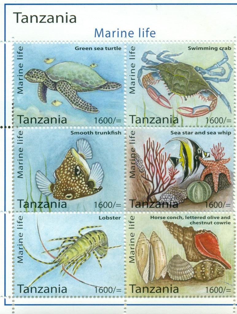 Marine Life - Sheetlet - Philately Tanzania stamps