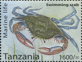 Marine Life - Swimming Crab - Philately Tanzania stamps