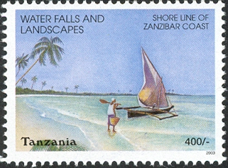 Water Falls-Shore line - Philately Tanzania stamps