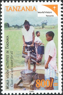 World Vision - Water - Philately Tanzania stamps