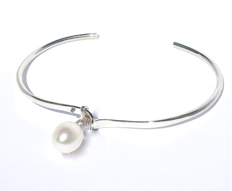 BOAB TREE & PEARL CHARM STERLING SILVER STRETCH BALL BRACELET