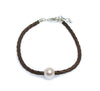 BILLY PEARL BROWN BRAID BRACELET WITH STERLING SILVER CLASP