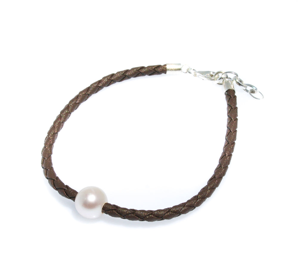 pearl bracelet leather brown