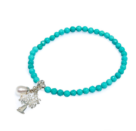 BLUE APATITE ANGEL WING BRACELET