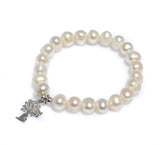 BOAB TREE STERLING SILVER CHARM PEARL STRETCH BRACELET