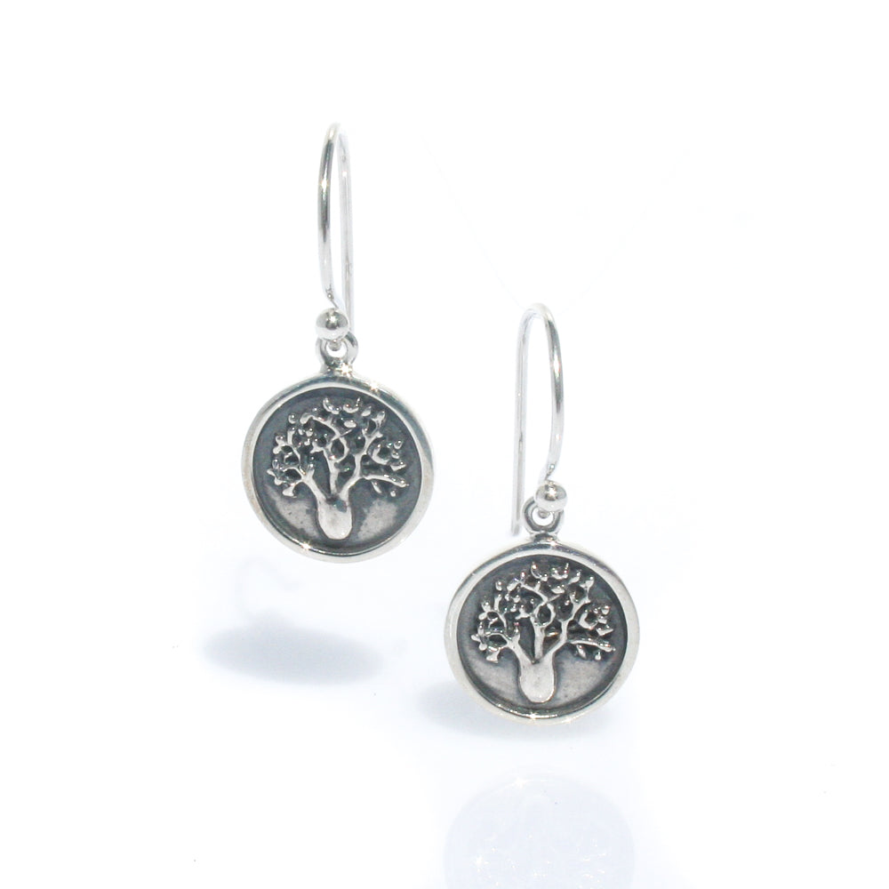 BOAB TREE STERLING SILVER OXIDE EARRINGS