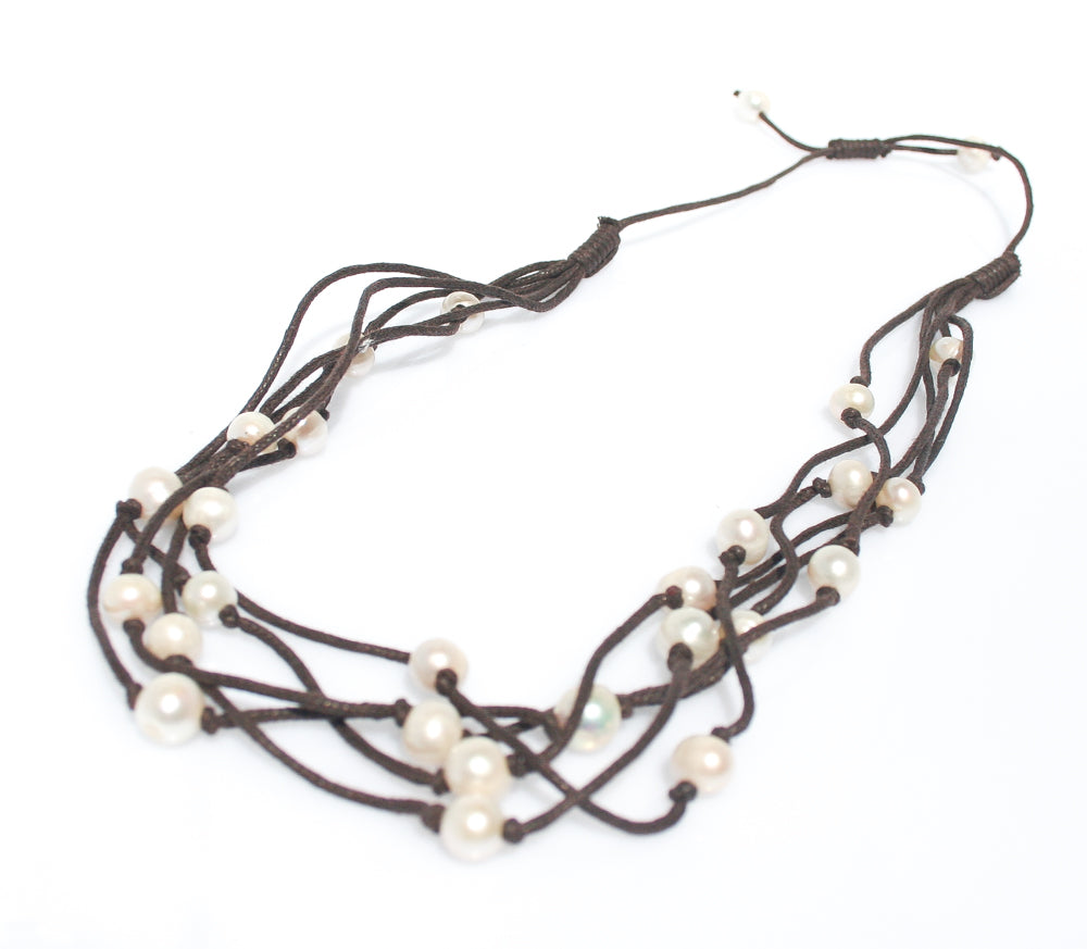 BOHO PEARL NECKLACE BROWN