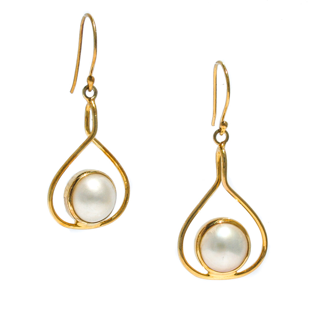mabe gold earrings pearl
