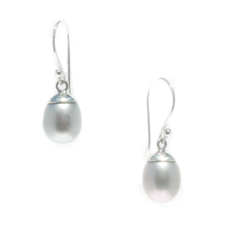 COCO DROP PEARL EARRINGS SILVER