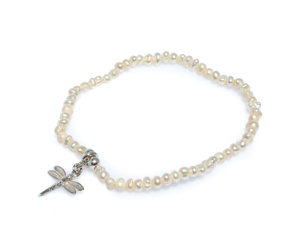 DRAGONFLY SEED PEARL BRACELET