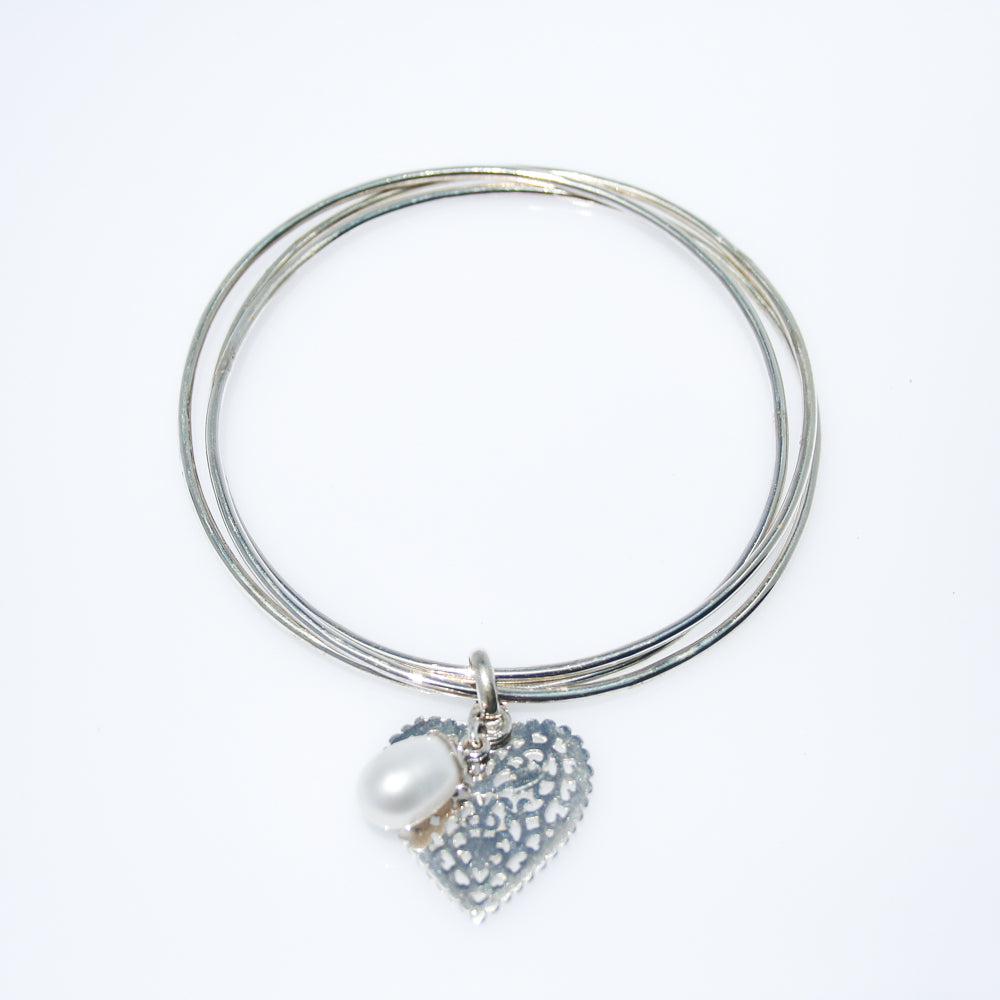 ENDLESS LOVE PEARL STERLING SILVER BANGLE