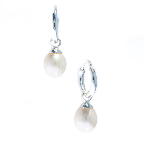 WHITE PEARL STUDS 10mm  9 ct gold