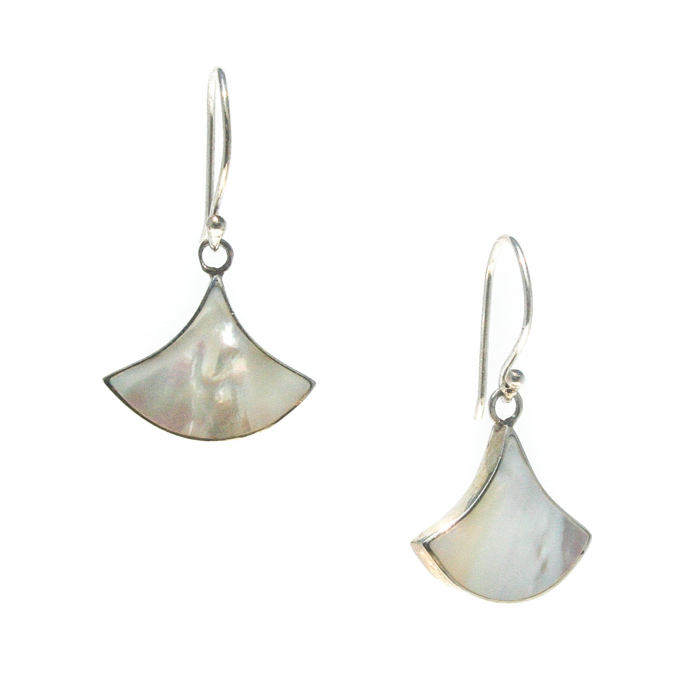 FAN MOTHER OF PEARL EARRINGS