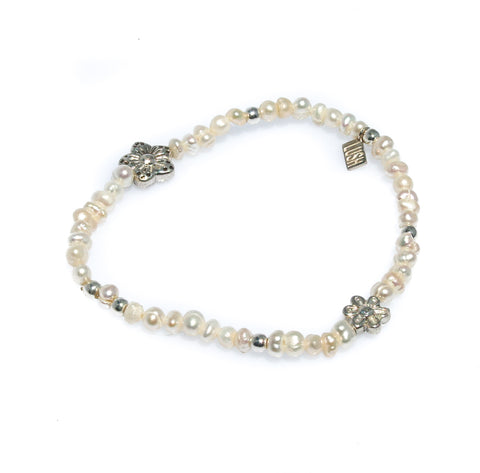 AVA CHILDRENS PEARL AND STERLING SILVER HEART BRACELET