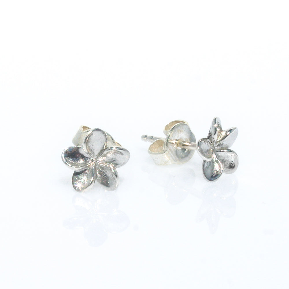 FRANGIPANI STERLING SILVER SMALL STUD EARRINGS