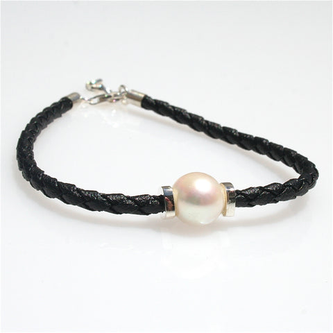 PEARLS ON BLACK BRAID NECKLACE