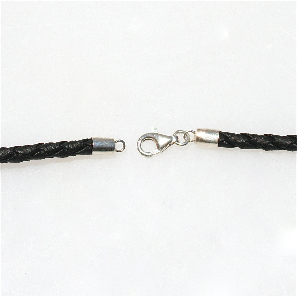 BLACK BRAID NECKLACE WITH STERLING SILVER LOBSTER CLASP