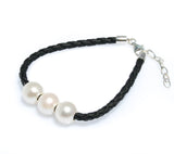 JODIE TRIPLE PEARL BLACK BRAID  BRACELET
