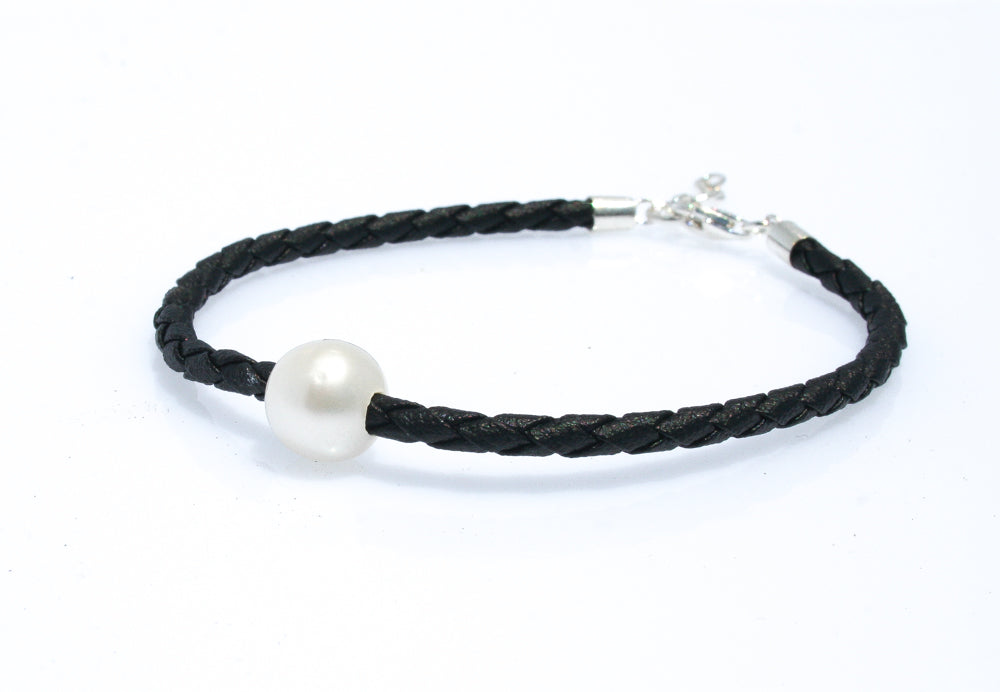 JODIE PEARL BLACK BRAID  BRACELET WITH STERLING SILVER CLASP