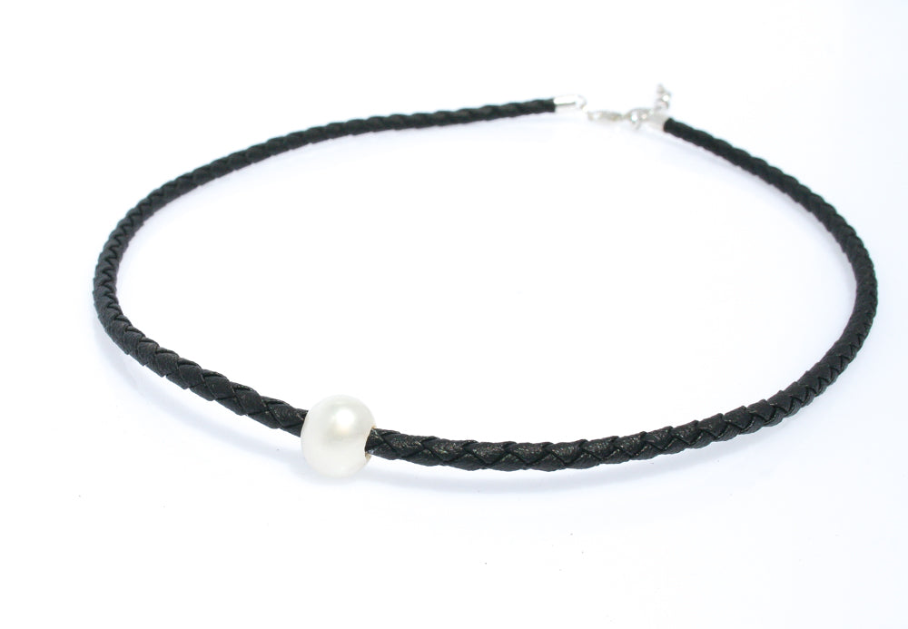 JOSIE PEARL BLACK BRAID NECKLACE