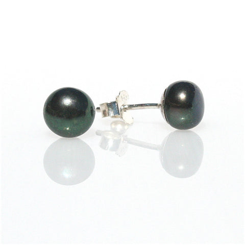 BLACK PEARL STUDS BEZEL SET IN STERLING SILVER 6mm
