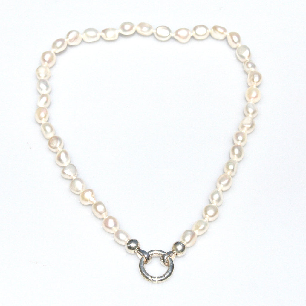 BAROQUE PEARL STRAND INDIVIDUALLY HAND KNOTTED ON SILK WITH STERLING SILVER CLASP