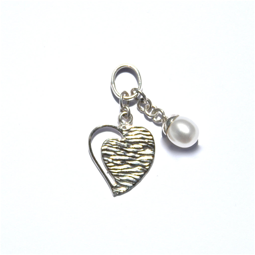 STERLING SILVER HEART WITH PEARL