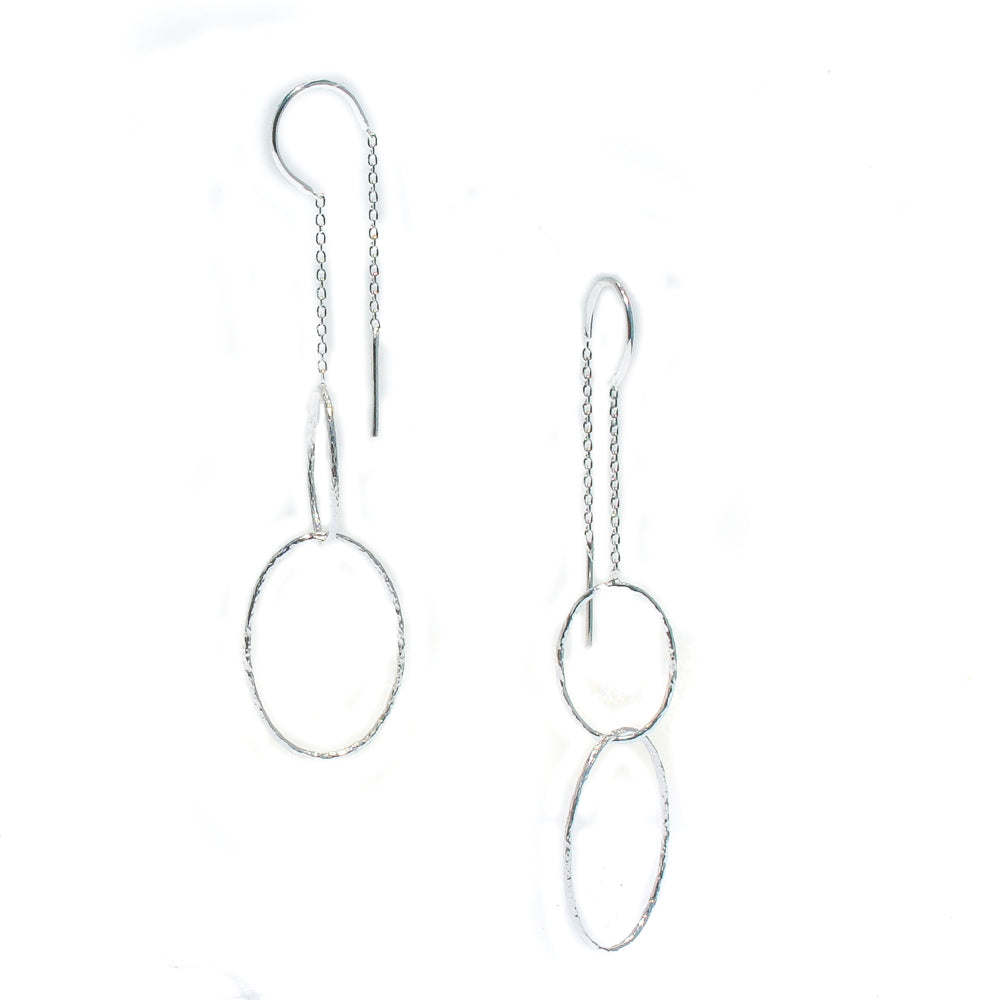 SILVER LOOP thread EARRINGS