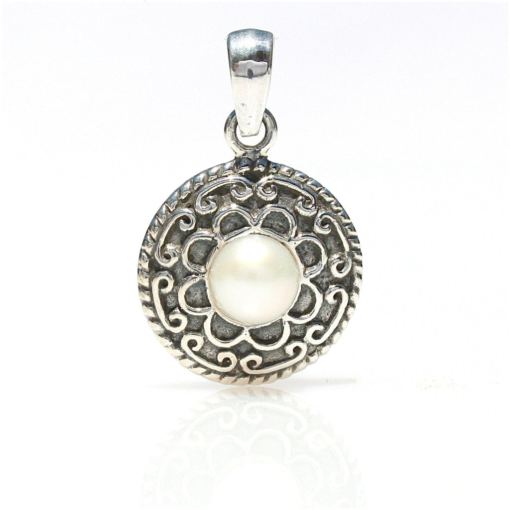 CHINATOWN LADIES OXIDE STERLING SILVER & PEARL PENDANT