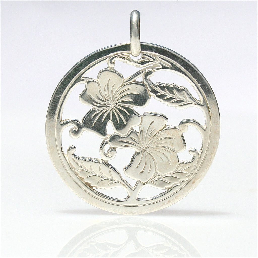 Boab flower sterling silver disc pendant lush designs jewellery boab flower sterling silver disc pendant mozeypictures Choice Image