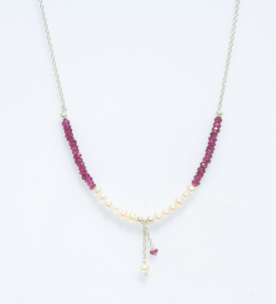 PEARL AMETHYST STERLING SILVER NECKLACE