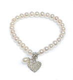 PEARL BRACELET WITH STERLING SILVER FILAGREE HEART & PEARL CHARM