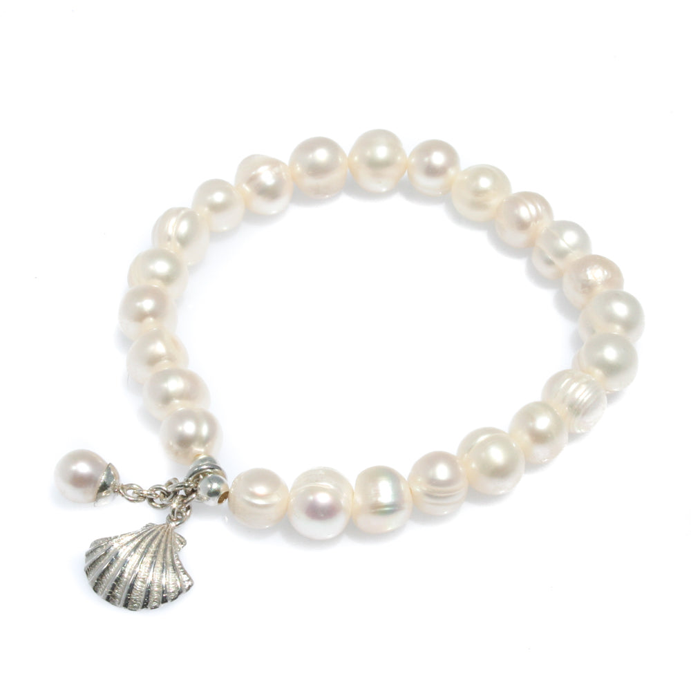 PEARL BRACELET WITH STERLING SILVER SHELL & PEARL CHARM