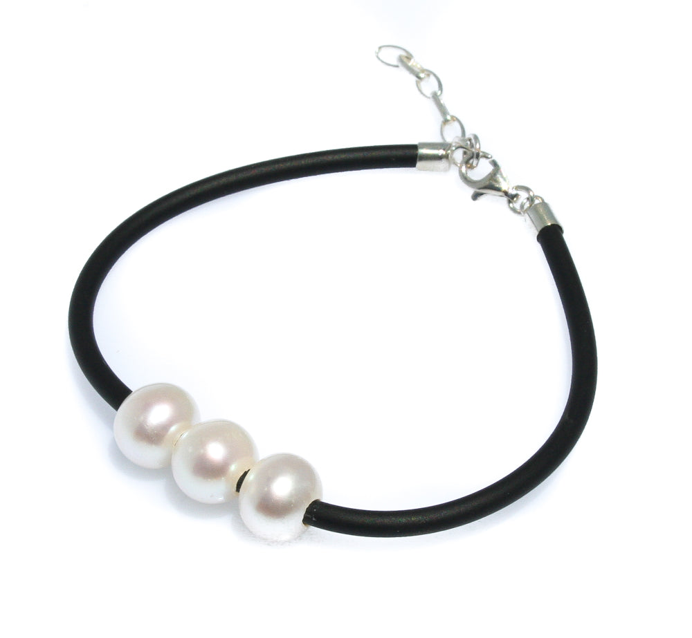 SALLY TRIPLE PEARL NEOPRENE BRACELET WITH STERLING SILVER CLASP