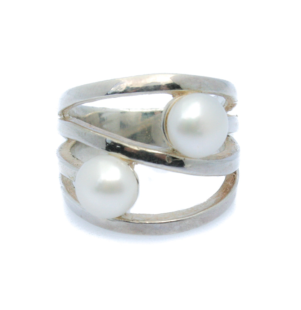 SANDY SHORES PEARL SILVER RING