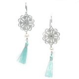 SEAMIST TASSEL STERLING SILVER PEARL EARRINGS